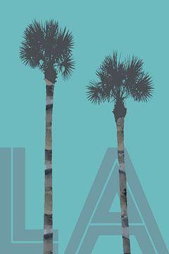 Grafische kunst BOMEN LA | turquoise van Melanie Viola
