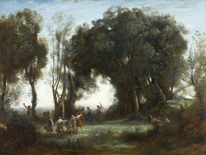 Der Tanz der Nymphen, Jean-Baptiste-Camille Corot von Meesterlijcke Meesters