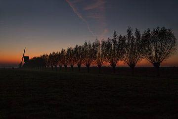 Windmühle von Kockengen bei Sonnenuntergang von Jeroen Stel