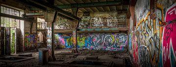 Graffiti in een oude kolenmijn van Jarno Boks