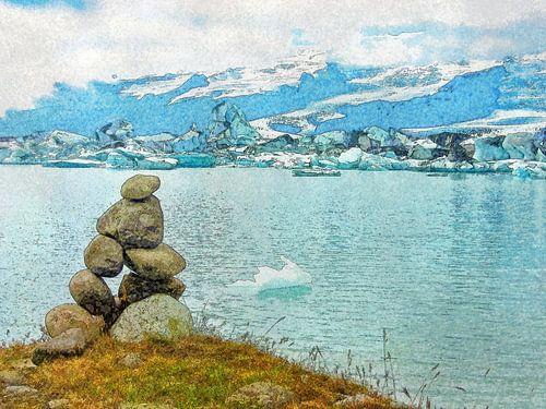 IJsland: steenman bij het ijsmeer van