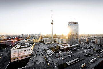 Berlijn Alexanderplatz Zonsondergang van Stefan Schäfer