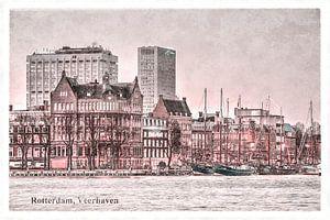 Carte postale d'époque: port de ferry à Rotterdam