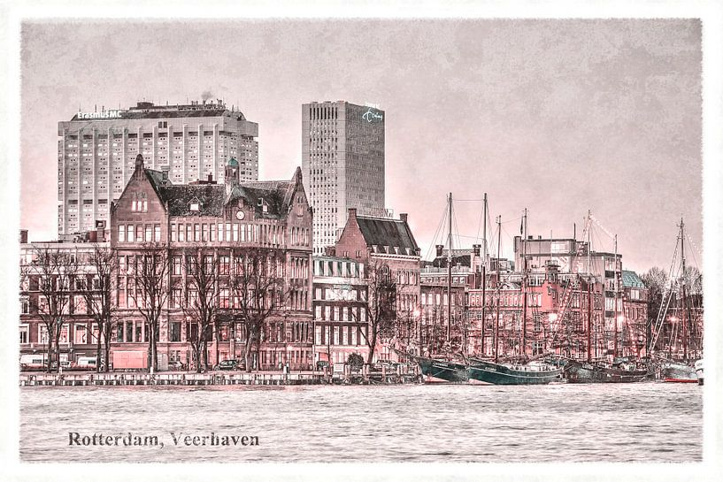 Vintage-Postkarte: Rotterdamer Fährhafen von Frans Blok
