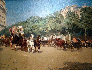 Childe Hassam, Op de dag van de Grand Prix, 1887 Parijs Le_Jour_du_Grand_Prix van Atelier Liesjes
