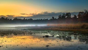 Mistige zonsondergang in de Klotterpeel van Harold van den Hurk