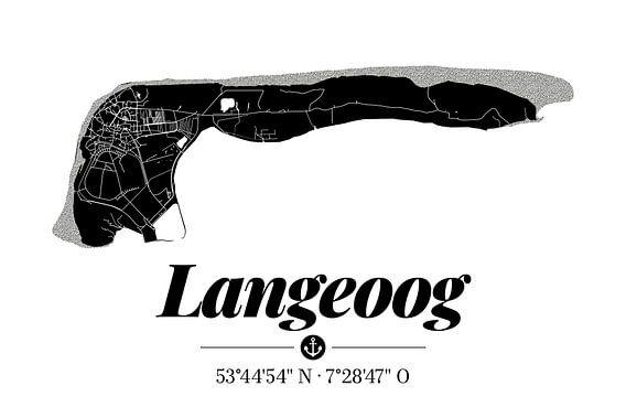 Langeoog | Landkarten-Design | Insel Silhouette | Schwarz-Weiß