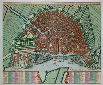 Amsterdam Oude kaart Plattegrond van Amsterdam  1725