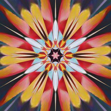 Abstract bloem mandala in rood blauw geel van Maurice Dawson