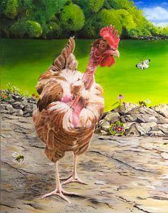 Französisches kahles Huhn im Garten