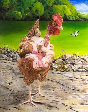 Französisches kahles Huhn im Garten von Ivonne Wierink