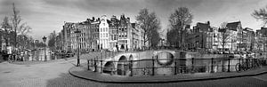 Panorama Keizersgracht Amsterdam in zwart-wit