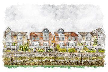 Huizen bij de jachthaven van Wemeldinge (Zeeland) (kunstwerk) van Art by Jeronimo