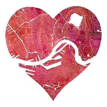Rotterdam Nord und Süd | Stadtplan in einem roten Herz von Wereldkaarten.Shop