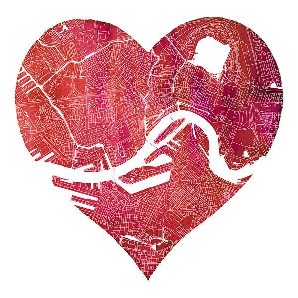 Rotterdam Noord en Zuid | Stadskaart in een rode hart van Wereldkaarten.Shop