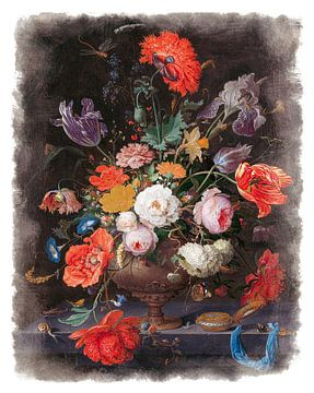 Oude Meesters serie #1 - Stilleven met bloemen en een horloge, Abraham Mignon