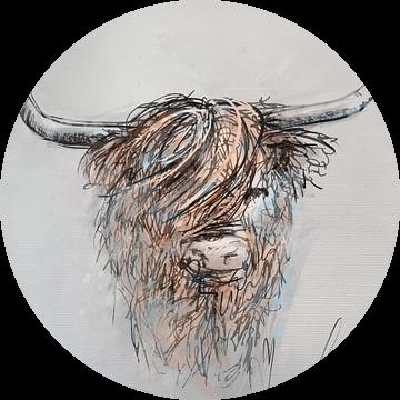 Schotse hooglander - digitaal artwork - inkt pen tekening ingekleurd met bruin grijs en blauw van Emiel de Lange