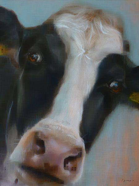 Schilderij koe BoeHoe. van Alies werk