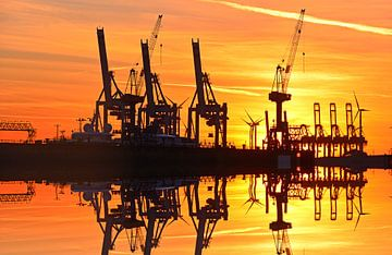 Sonnenuntergang Hamburger Hafen von Inge Knol