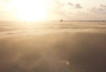 Promenade sur la plage sur Harm A