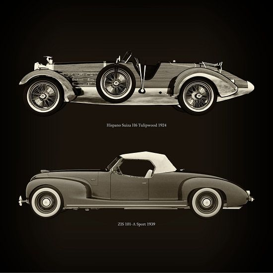 Hispano Suiza H6 Tulipwood 1924 en ZIS 101-A Sport 1939