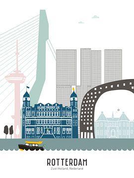 Skyline illustratie stad Rotterdam | Sparta | Kasteel in kleur van Mevrouw Emmer