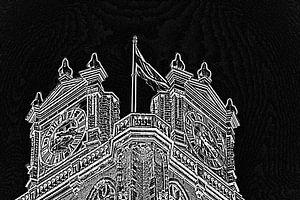 Grote Kerk met Dordtse vlag van Henk Hartzheim