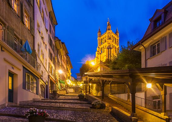 Old town of Lausanne in Switzerland at night
