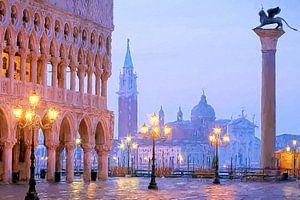 Venedig Markusplatz beleuchtet gemalt