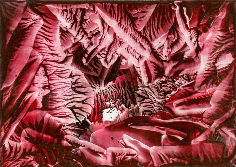 Encaustic Art rood zwart wit van Erica de Winter