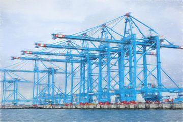 tekening containerkraan in haven van
