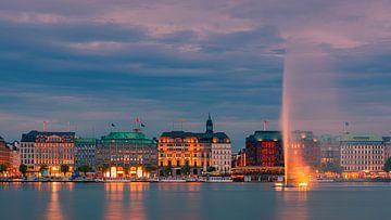 Sonnenuntergang an der Binnenalster, Hamburg