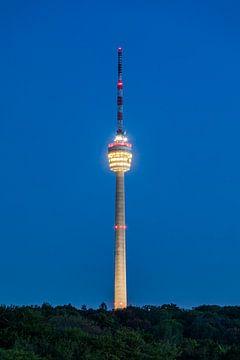 Fernsehturm in Stuttgart am Abend von Werner Dieterich