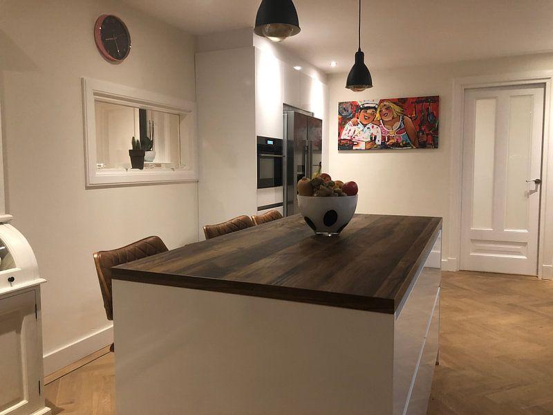 Klantfoto: Keuken Party van Vrolijk Schilderij, op canvas