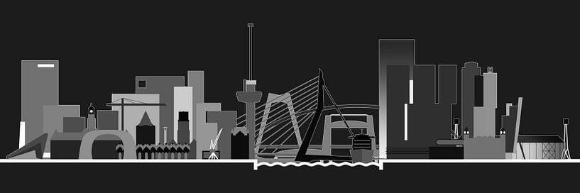 Rotterdamse skyline, nachtversie van Frans Blok