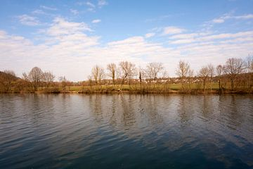 Neckar Fluss bei Sonnenschein und unter blauem Himmel mit Gras und Bäumen von creativcontent
