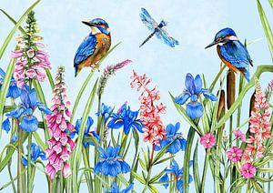 Ijsvogels wilde bloemen van Geertje Burgers
