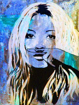 "Kate Moss ""Love"" van Kathleen Artist Fine Art"