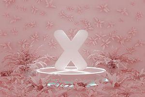 zachte X-vorm op sokkel omringd door roze tropische planten van Besa Art