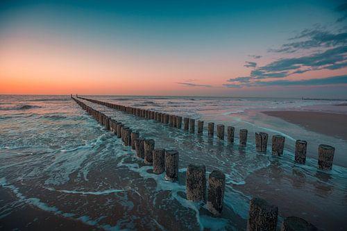 Domburg zonsondergang paalhoofden van