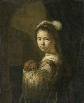 Ein kleines Mädchen mit einem Welpen im Arm, Govert Flinck