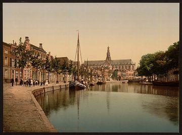 Turfmarkt en Spaarne, Haarlem von Vintage Afbeeldingen