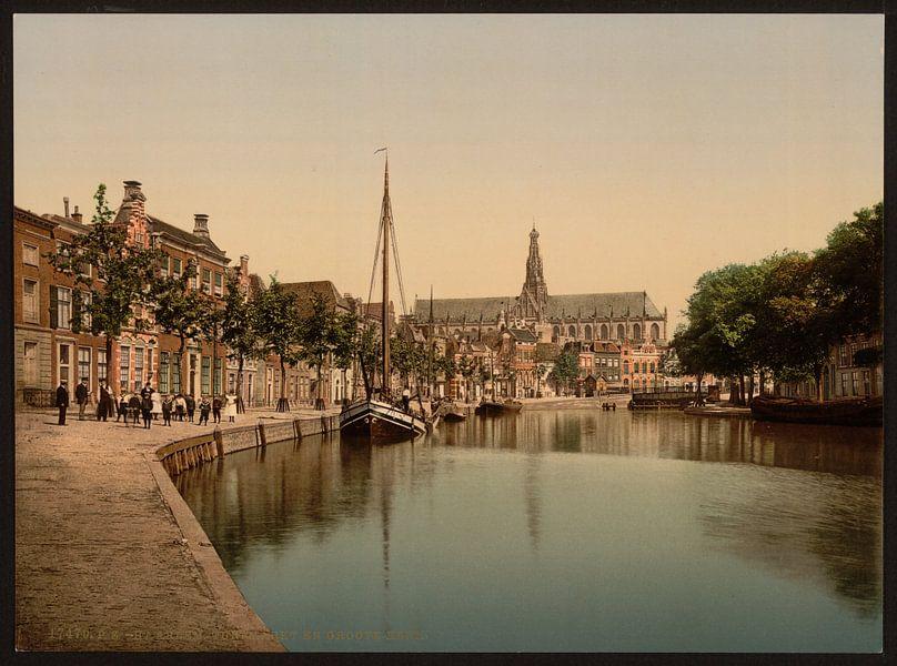 Turfmarkt en Spaarne, Haarlem van Vintage Afbeeldingen
