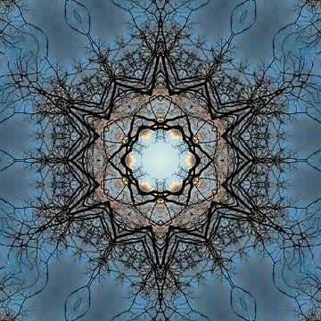 Natuur mandala - met een hart van wolken van Nina IoKa