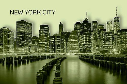 MANHATTAN Skyline | Graphic Art | yellow