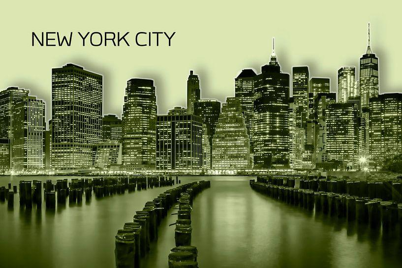 MANHATTAN Skyline   Graphic Art   gelb von Melanie Viola