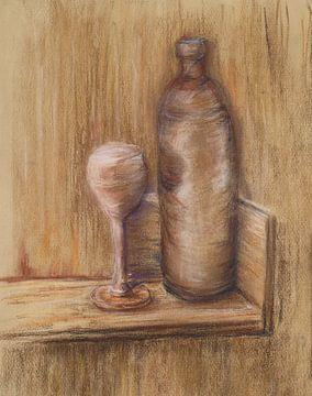 Bruine wijnfles. van Ineke de Rijk