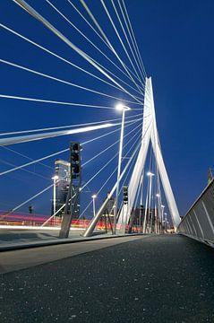 Erasmusbrug in Rotterdam 's nachts von André Scherpenberg