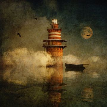 Droom – De eenzame vuurtoren in de mist met volle maan van Jan Keteleer