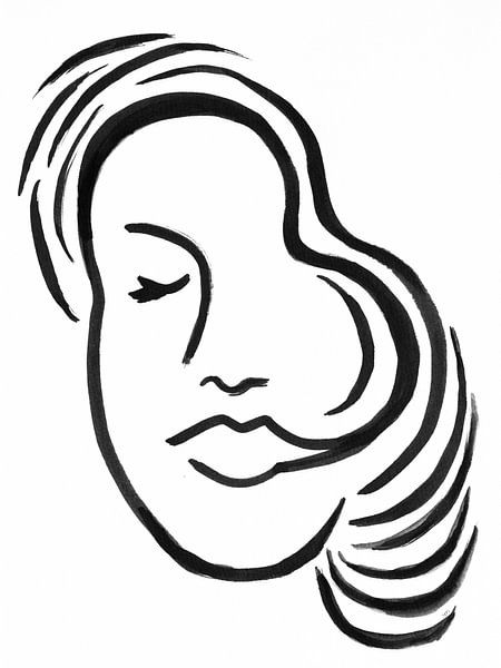 Zwart-wit illustratie Gezicht van Henriëtte Mosselman
